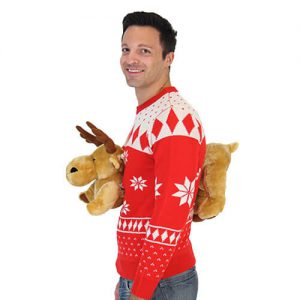 red 3d moose reindeer ugly sweater